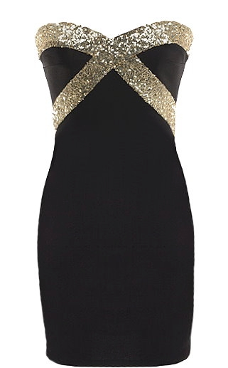 Black Gold Sequin Trim Strapless Sweetheart Bodycon Party Dress