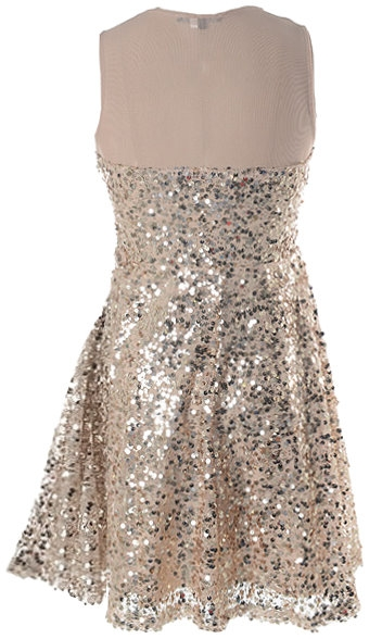 Short Gold Sequin Mesh Skater Dress For Homecoming and Prom