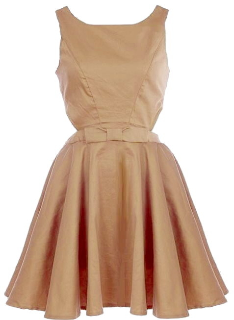 Beige Side Cut Out Button Back Skater Dress