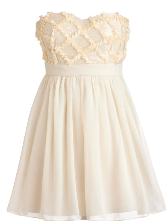 Strapless Cream Chiffon Sequin Sweetheart Neck Empire Waist Embellished Bridesmaid Dress