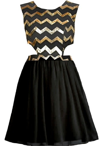 Black Gold Sequin Bodice Cut Out Side Short Fit-And-Flare Skater Dress