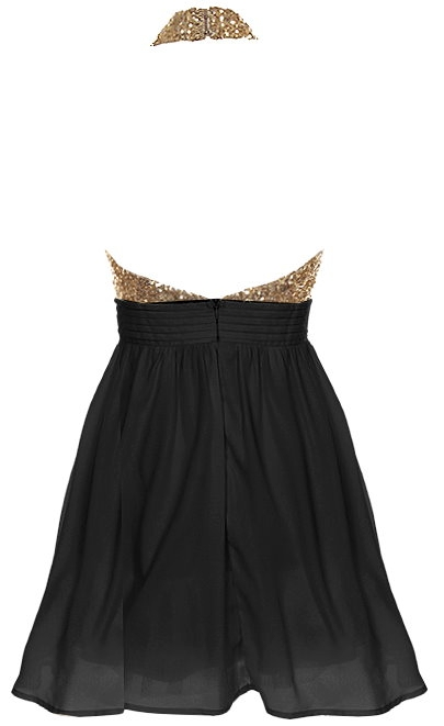 Sparkly Gold Black Halter Neck Fit-And-Flare Skater Dress
