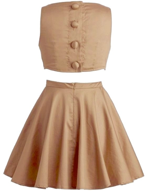 Tan Color Fit And Flare A-Line Cut Out Dress