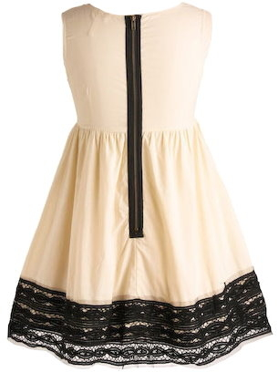 Ivory Black Mesh Chiffon Fit and Flare Babydoll Dress