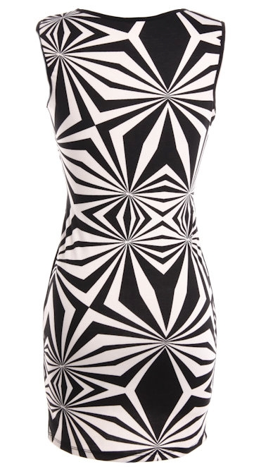 Black White Graphic Striped Cut Out Bodycon Party Dress