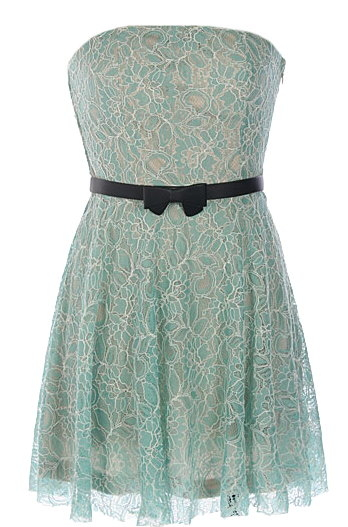 Mint Green Strapless Embroidered Lace Belted Casual Dress