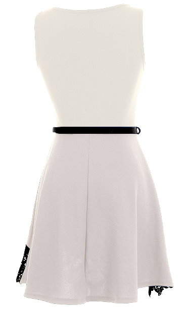 Off-White Scoop Neck Belted Lace Hem Fit-And-Flare Dress