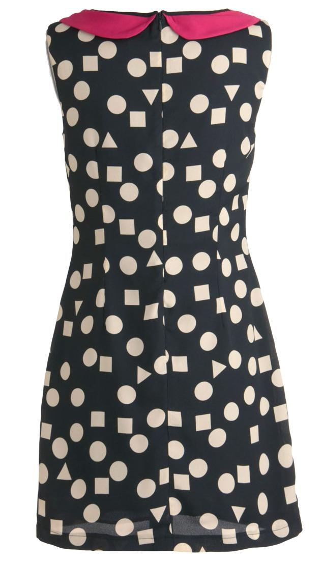 Vintage Polka Dot Peter Pan Collar Monochrome Shift Dress
