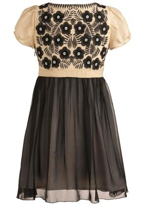 Vintage Ivory Black Cap Sleeve Embroidered Mesh Skater Dress