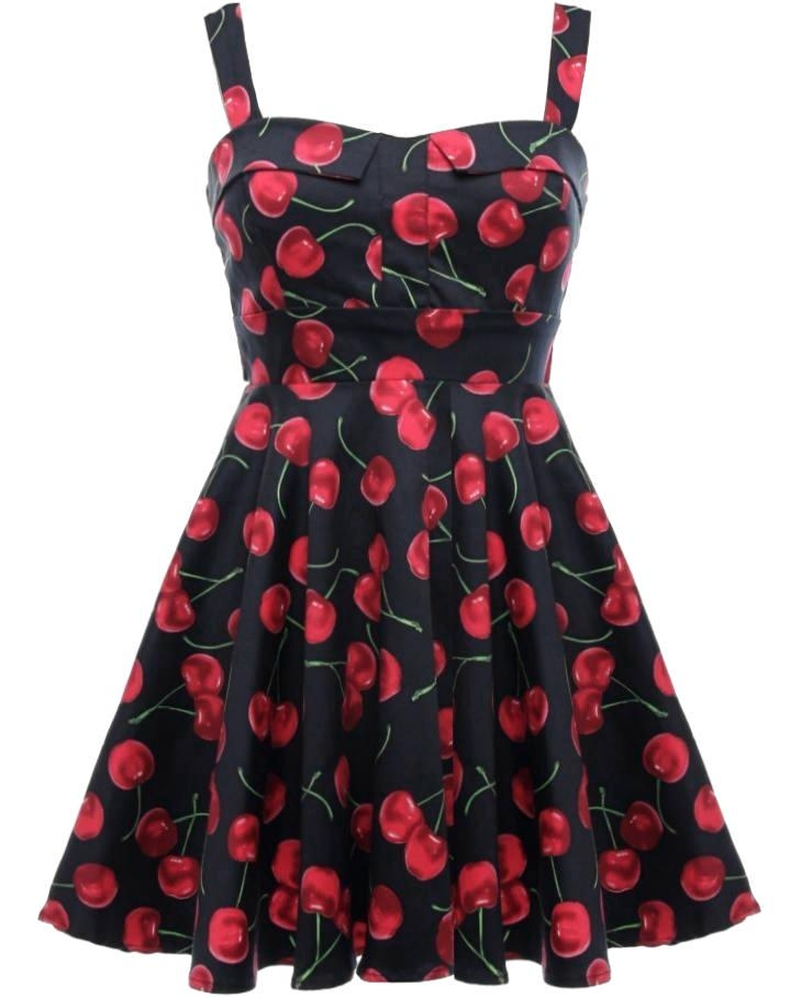 Black Red Cherry Print Vintage Sweetheart Neck Fit And Flare Dress