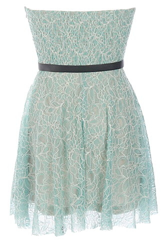 Strapless Mint Green Short Embroidered Bridesmaid Dress