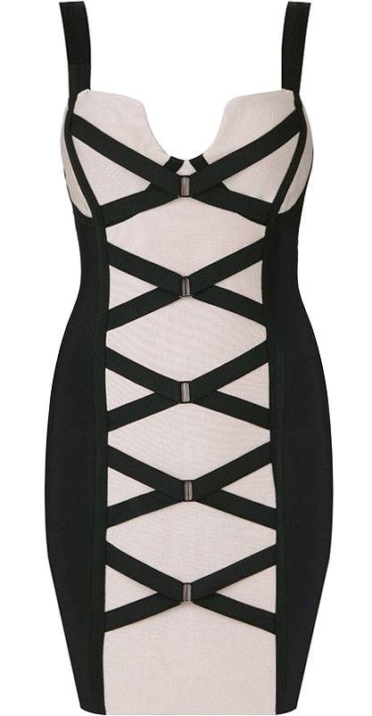Beige Black Criss-Cross Corset Front Bandage Dress In The Style Of Kim Kardashian