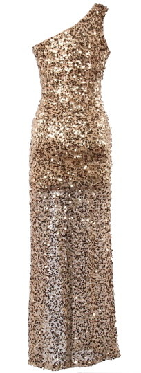 Gold One-Shoulder Sweetheart Neck Sequin Maxi Dress