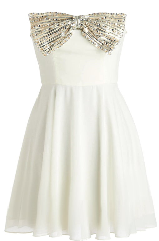 Strapless Diamond Bow-Embellished Short Ivory Chiffon Homecoming Dress