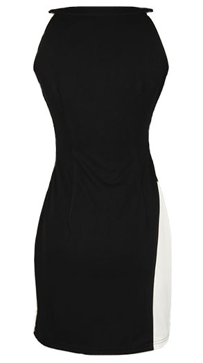 Swirled Black And White Sleeveless Body-Conscious Sheath Dress