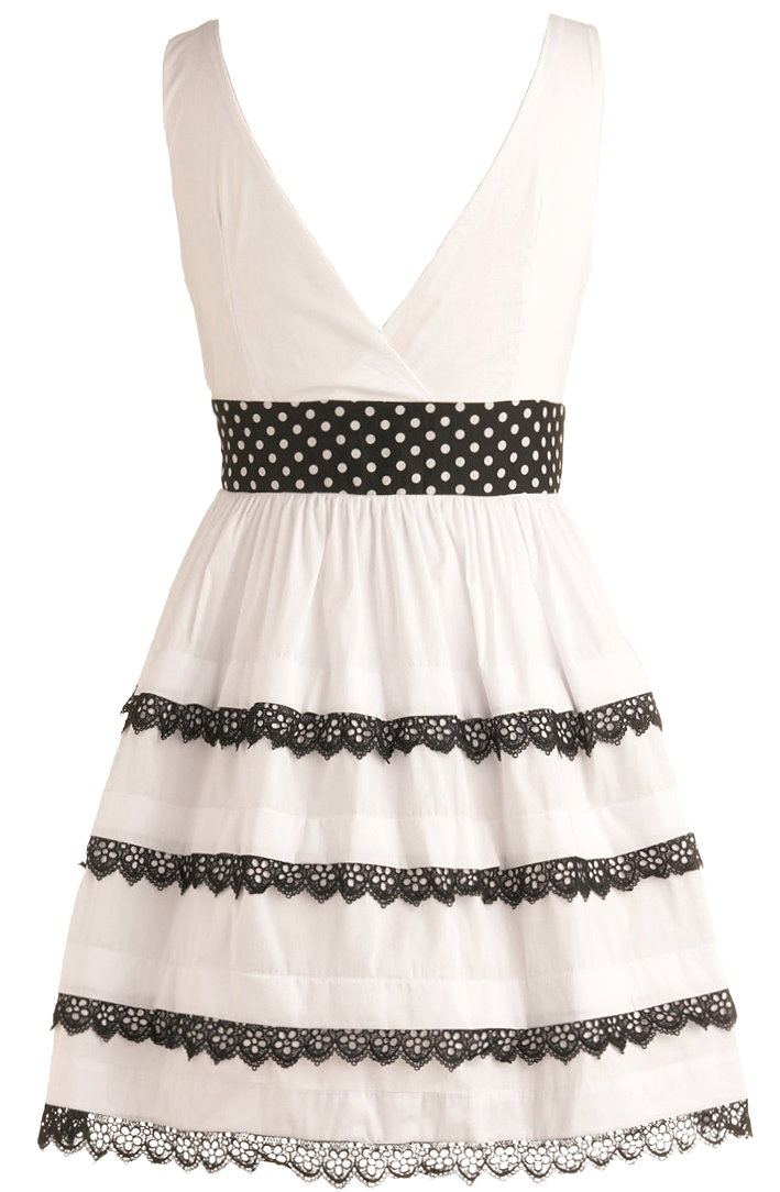 White Cotton V-Neck Contrast Lace Fit-And-Flare Dress