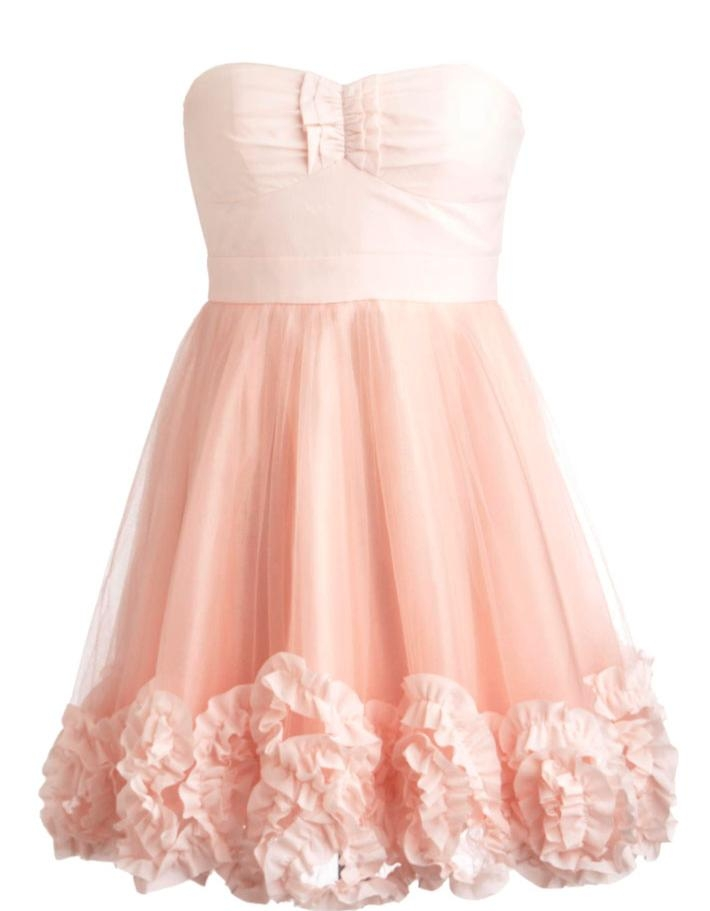 Strapless Pink Organza Mesh A-Line Homecoming Prom Dress