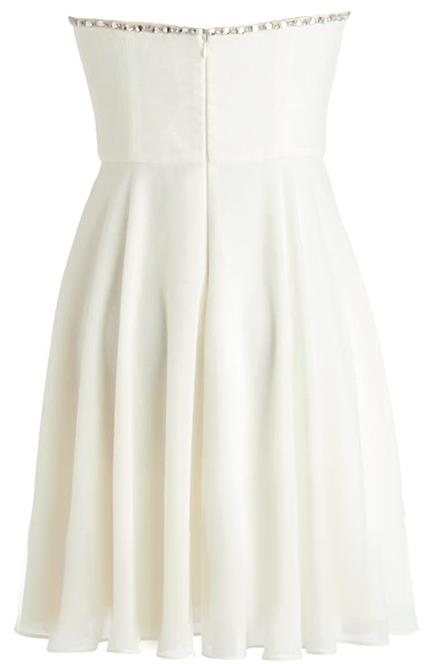 Strapless White Bow Accented Silk Chiffon Bridesmaid Dress