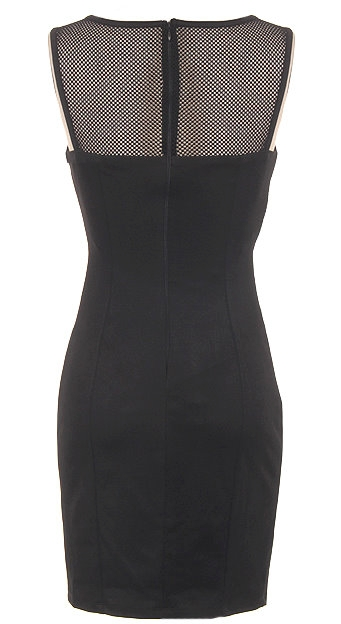 Sleeveless Geometric Mesh Little Black Dress With White Side Trim