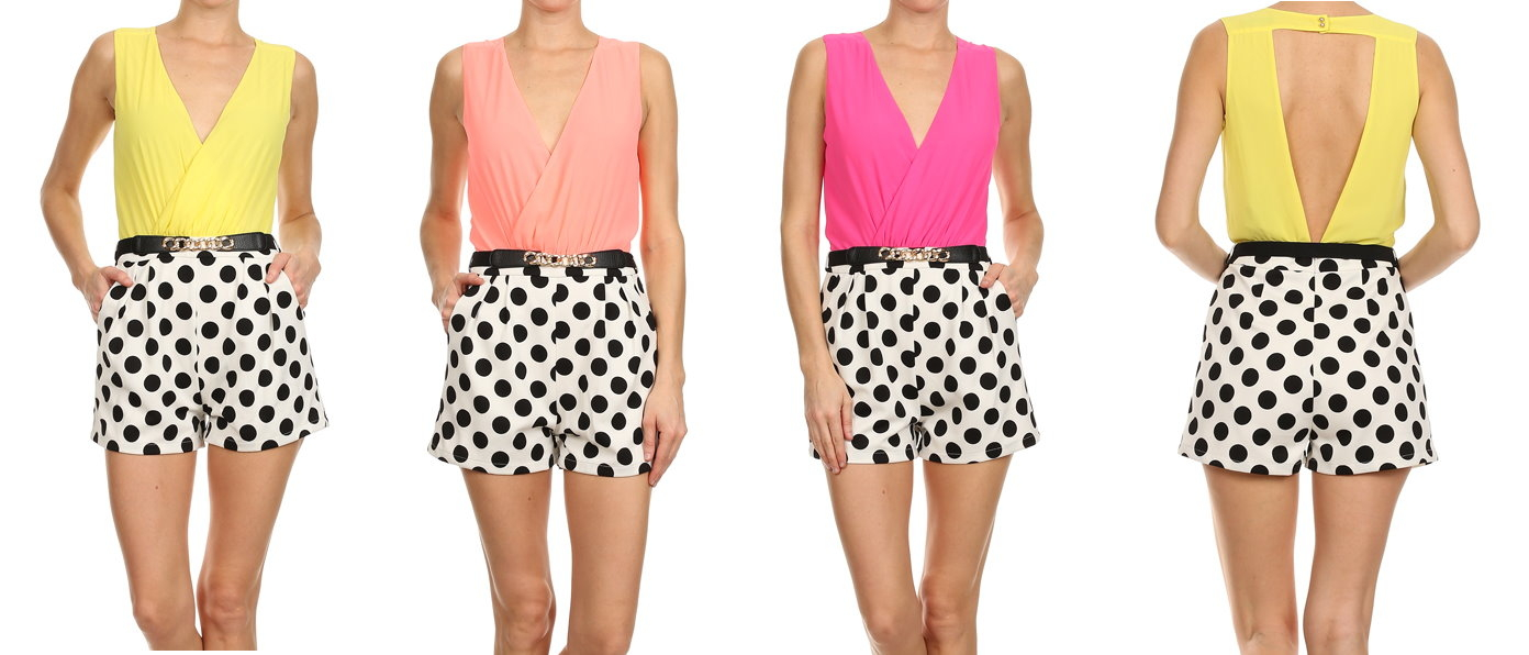 Coral Wrap-Style Belted Black White Polka Dot Playsuit