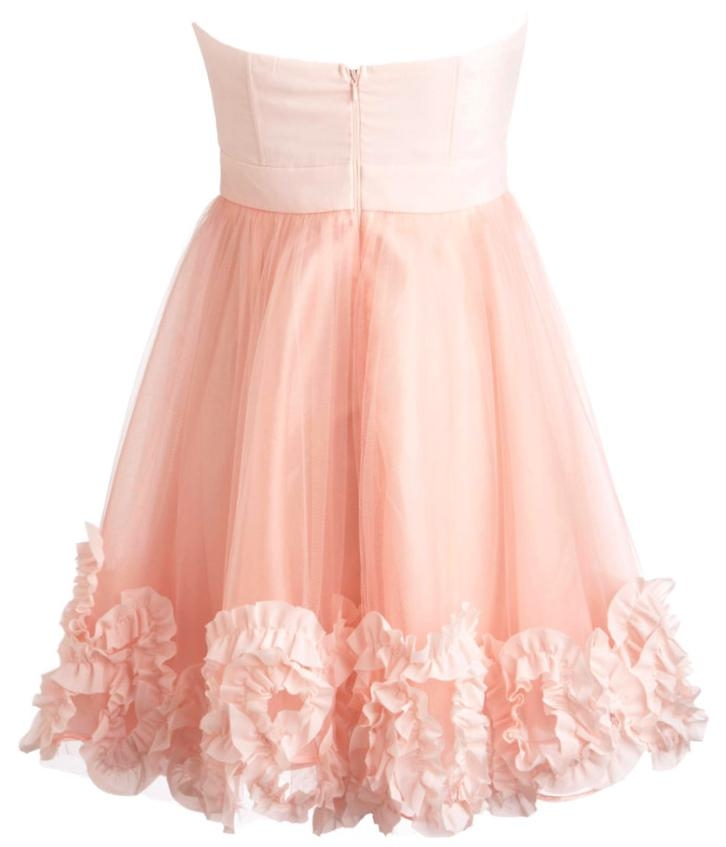 Baby Pink Sweetheart Neckline Pleated Chiffon Strapless A-Line Bridesmaid Dress