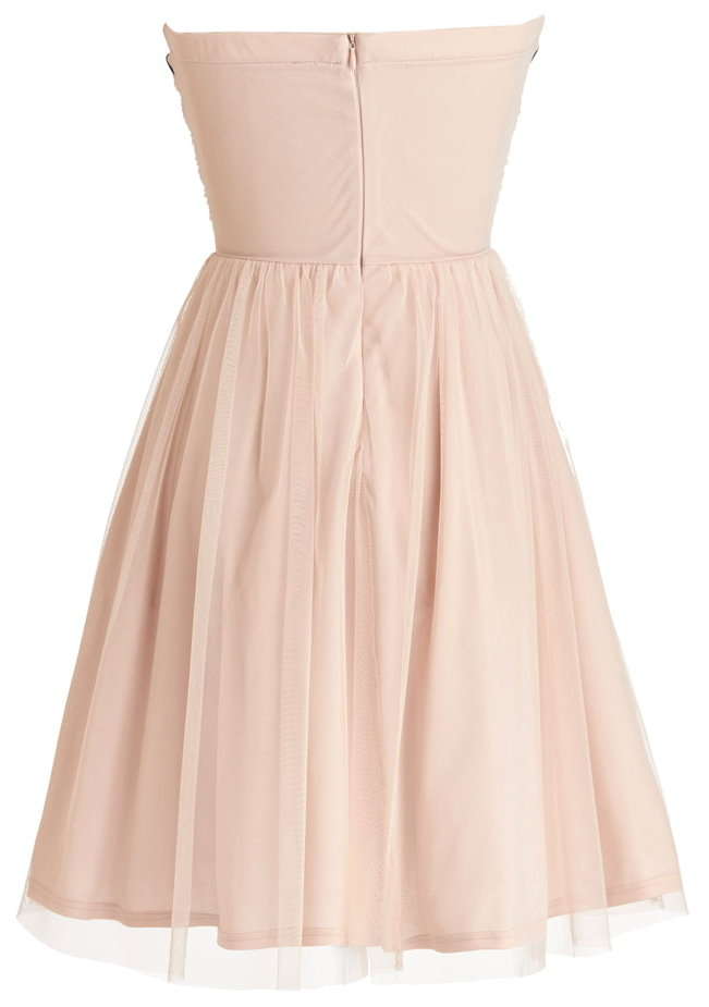 Pale Pink Strapless Jewel Embellished Short Prom Dress