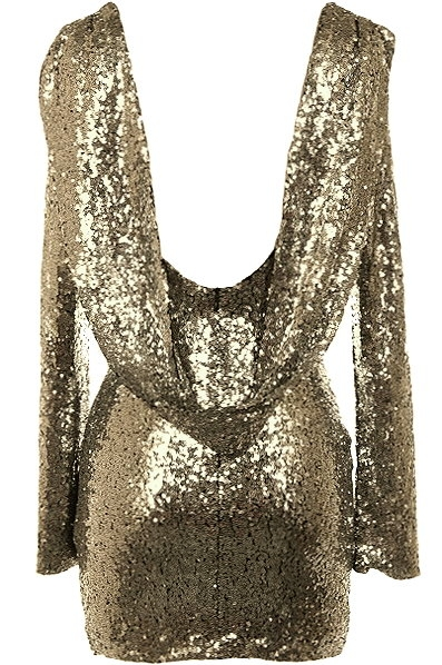 Sparkling Gold Open-Back Long-Sleeve Sequin Dress