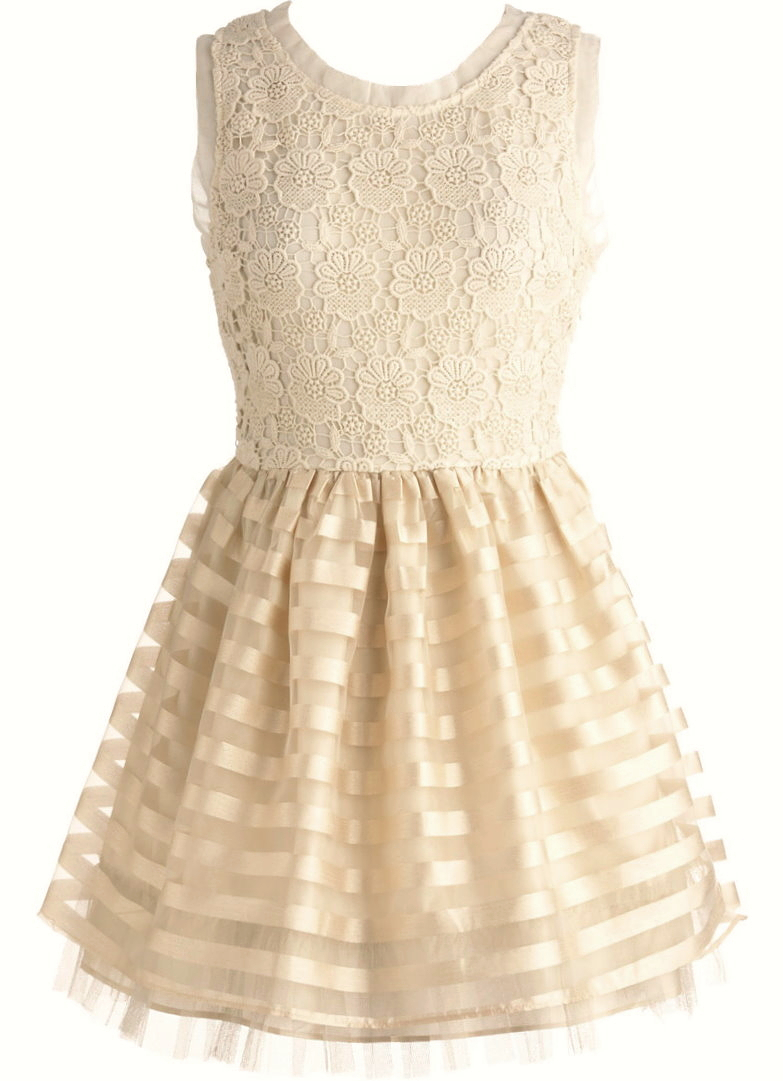 Cream Crochet Bodice Fit And Flare Mesh Ribbon Dress