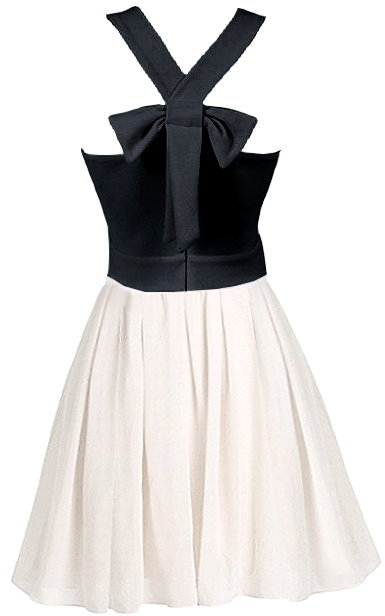 Black And White Embellished Bow-Back Short A-Line Dress