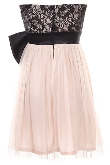 Short Sweetheart Bust Black Lace Bow Applique Pink Tulle Dress
