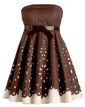 Strapless Brown White Laser Cut Bridesmaid Dress