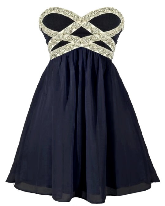 Strapless Navy Blue Silk Sweetheart Embellished Beaded Homecoming Dress