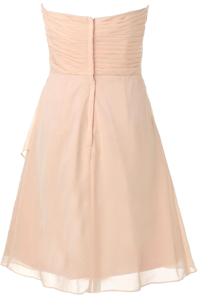 Strapless Pale Pink Chiffon Wedding Guest Dress
