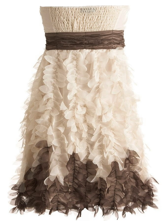 Strapless Cream Brown Petal Applique Short Bridesmaid Dress