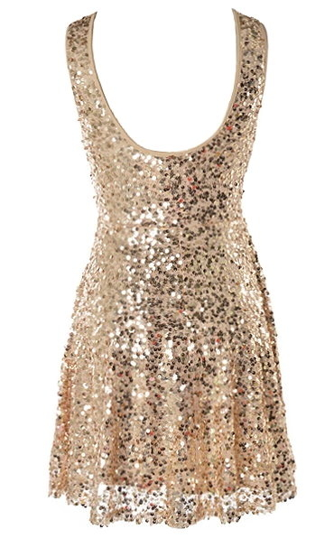 Short Gold Sparkly Fit-And-Flare Sequin Skater Dress