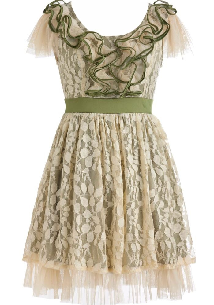Vintage Cream Green Short Ruffled Bridesmaid Dress