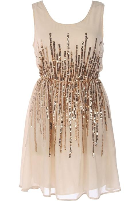 Ivory Gold Sequin Bachelorette Party New Year's Dress