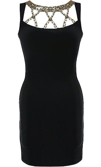 Black Gold Criss Cross Sequin Neck LBD Cocktail Bodycon Dress