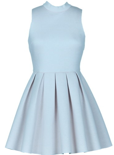 Baby Blue Mock Neck Pleated Scuba Skater Dress