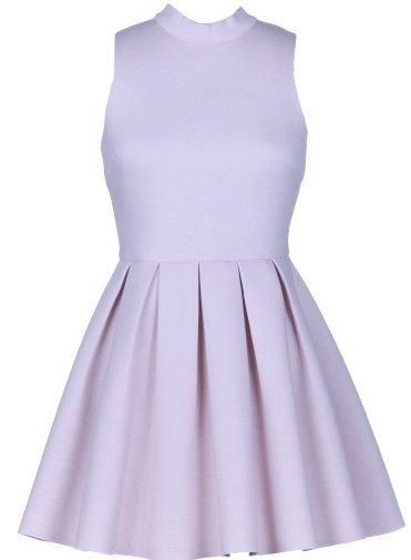 Lavender Purple Mock Neck Pleated Scuba Skater Dress