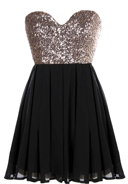 Strapless Black Gold Sequin Sweetheart Neck Micro Mini Party Dress