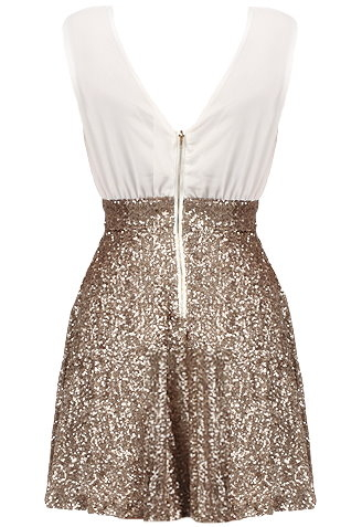 White Chiffon Gold Sequin Skirt Skater Dress