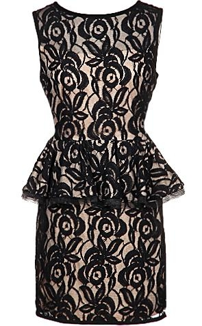 Sleeveless Black Lace Rose Embroidered LBD Going Out Bodycon Dress