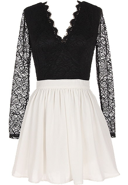 Black White Long-Sleeve Scalloped Lace V-Neck Skater Dress