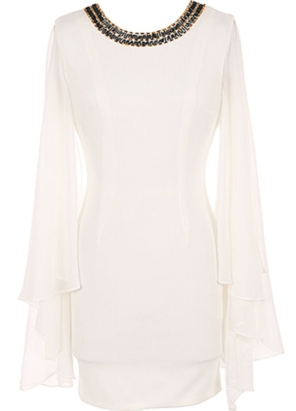 White Jewel-Neck Long Chiffon Sleeve Fitted Bodycon Cocktail Dress
