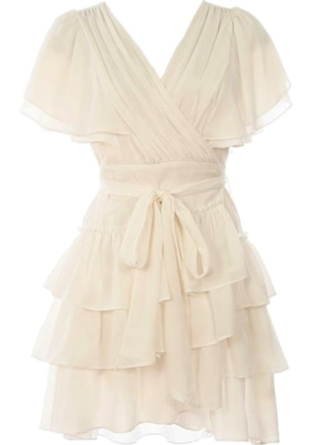 White Ruffle Wrap Tie-Waist Layered Dresses