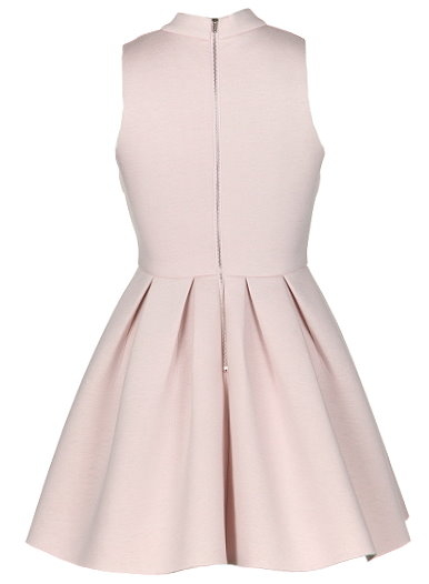 Pale Pink High Neck Fit And Flare Skater Dress