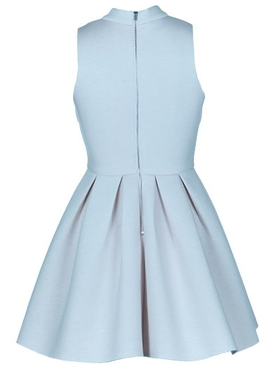Pale Blue High Neck Fit And Flare Skater Dress