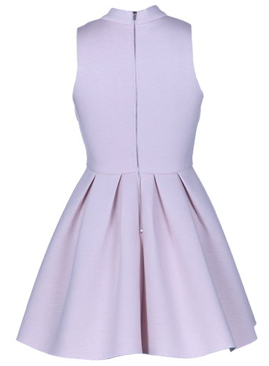 Lilac Purple High Neck Pleated Fit And Flare Dress