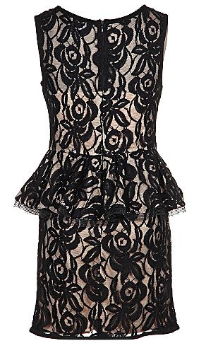 Black Floral Embroidered Peplum Waist Bodycon Dress